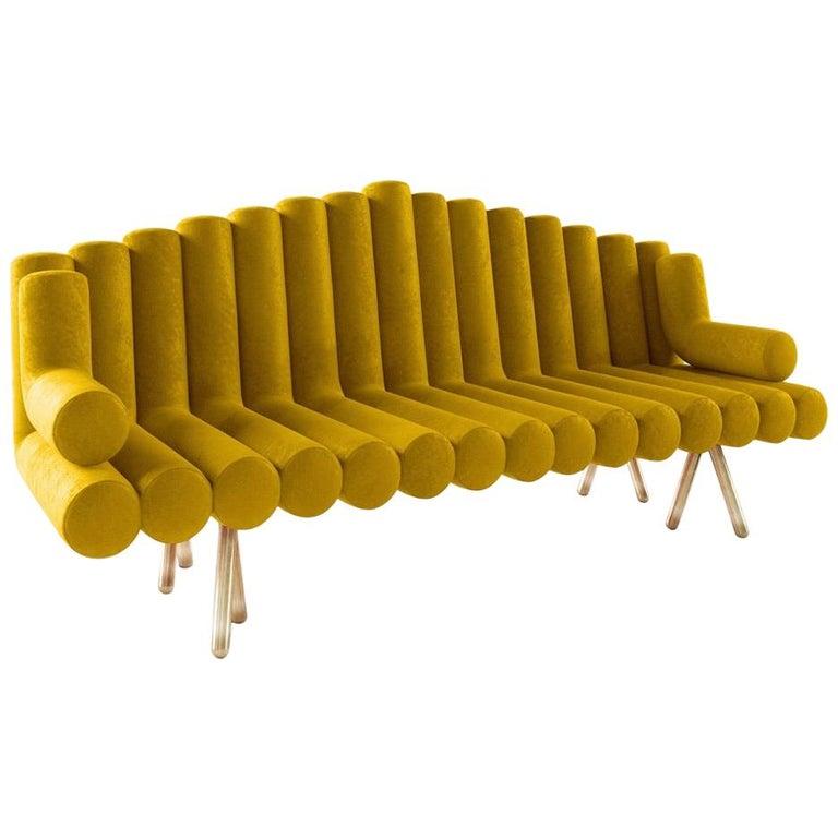 Yellow Velvet Sofa with Brass Legs For Sale