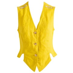 Yellow Vest for Woman in Linen by Rocco Barocco Jeans, Made in Italy