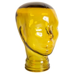 Yellow Vintage Decorative Mannequin Glass Head Sculpture, 1970s, Germany