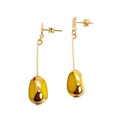Yellow Vintage German Glass Beads edged with 24K gold Art Deco Earrings