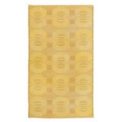 Midcentury Swedish Yellow Flat-Weave Rug Signed KH