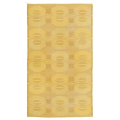 Yellow Vintage Swedish Flat-Weave Rug Signed KH