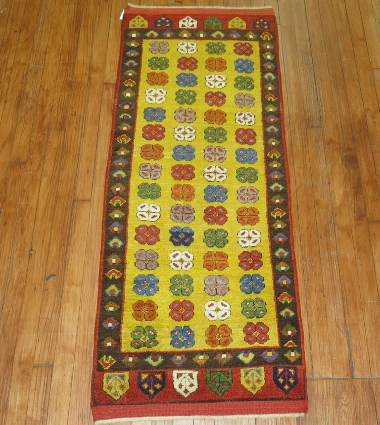 Yellow Vintage Turkish Runner In Excellent Condition For Sale In New York, NY