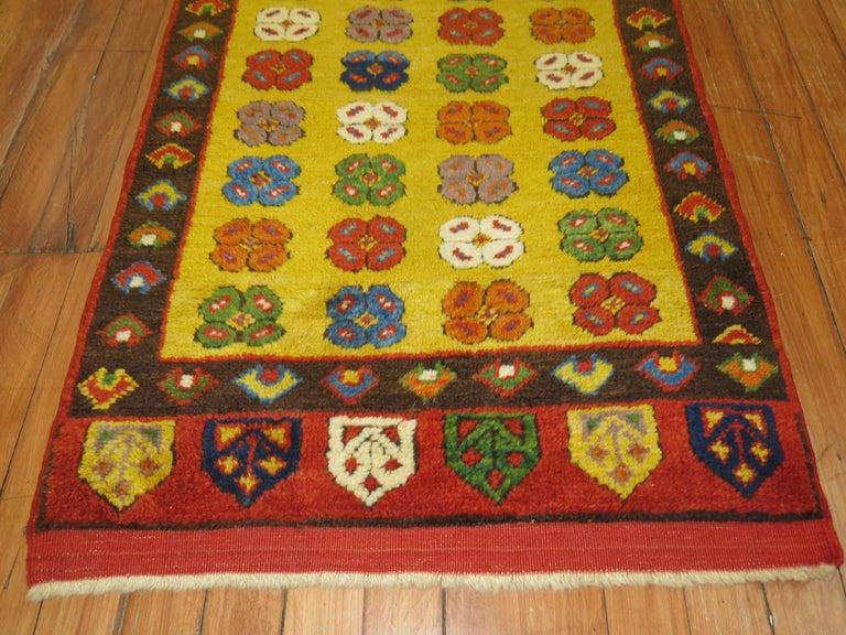 Wool Yellow Vintage Turkish Runner For Sale