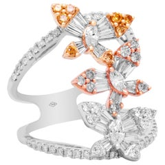 Yellow White and Rose Gold Butterfly Ring with Yellow Pink White Diamonds