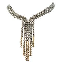 Yellow White Diamond Drop 18 Karat White Gold Necklace