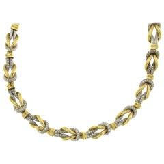Yellow/White Double Knot Necklace 18 Karat with Diamonds