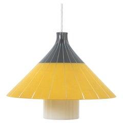 Yellow White Glass Pendant Lamp Glass, Italy, circa 1950