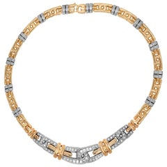 Yellow White Gold and Diamond Choker Link Necklace