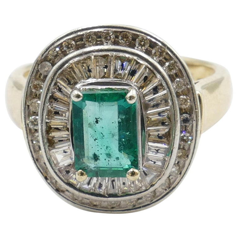 "Yellow/White Gold ""Ballerina Style"" Emerald and Diamond Ring For Sale"