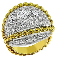 Yellow White Gold Diamond Cocktail Ring