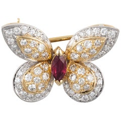 Yellow/White Gold Diamond Ruby Butterfly Pin