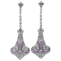 Yellow or White Gold Ruby and Diamond Long Drop Earrings