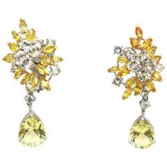 Yellow White Sapphire Diamond Cluster 18k Gold Earrings with Yellow Beryl Drops