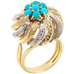 Yellow White Two-Tone Gold and Diamond Cocktail Ring with Turquoise