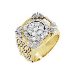 Yellow White Two-Tone Gold and Diamond Men's Ring Stambolian