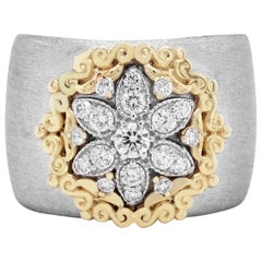 Yellow White Two-Tone Gold and Diamond Starburst Cigar Band Ring Stambolian