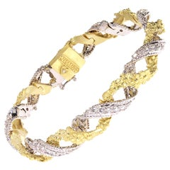 Yellow White Two-Tone Gold and Diamond Twisted Floral Bracelet