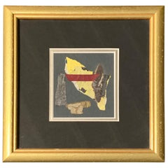 Yellow, Wine, Grey, Black Collage by Artist Herve Thibault, France, Contemporary