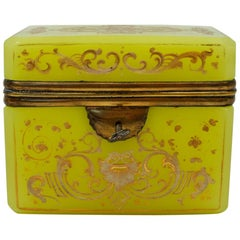 Yellow Yellow Opaline Box Enameled with White and Gold Decors