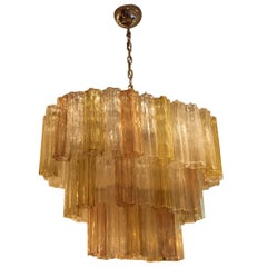 Yellow, Pink and White Venini Style Tronchi Oval Hanging Chandelier