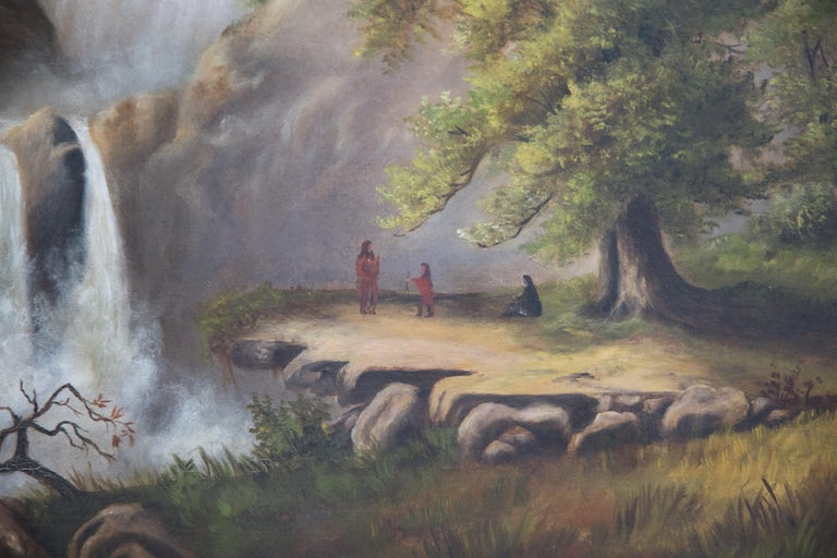 Offered is an antique 19th century large oil painting on canvas depicting the Yellowstone Valley with native Americans standing before a waterfall. The piece is in good condition, canvas without any evident punctures or rips, but with some frame