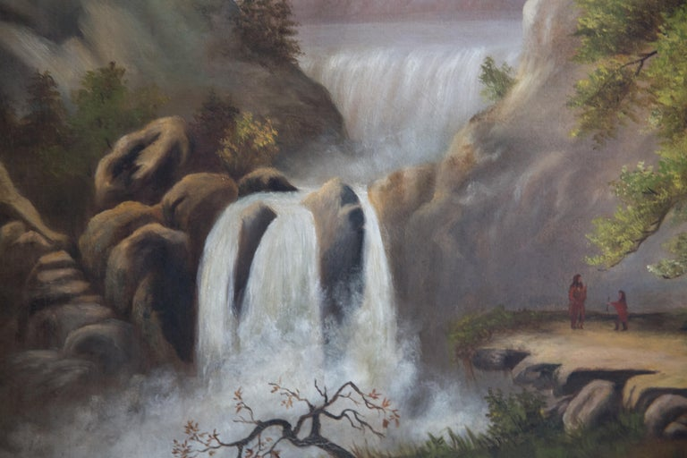 Yellowstone with Native Americans Antique Oil Painting In Good Condition For Sale In Hudson, NY