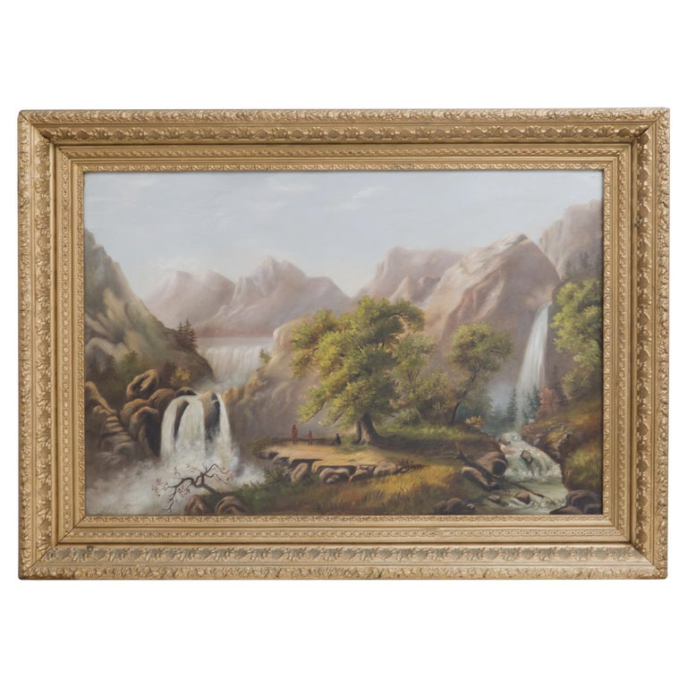 Yellowstone with Native Americans Antique Oil Painting For Sale