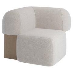 Yemeni Contemporary Corner Sofa in Fabric and Wood by Artefatto Design Studio