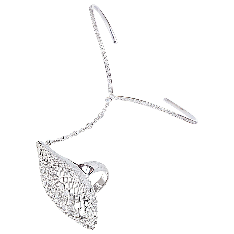 Yemyungji Diamond 18 Karat White Gold Ring Bracelet