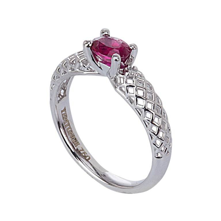 Women's Yemyungji Emerald Ruby Sapphire Oval Cut Solitaire Layering Ring Set For Sale