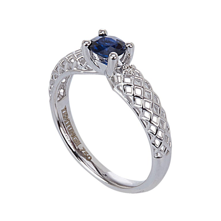 Yemyungji Emerald Ruby Sapphire Oval Cut Solitaire Layering Ring Set For Sale 2