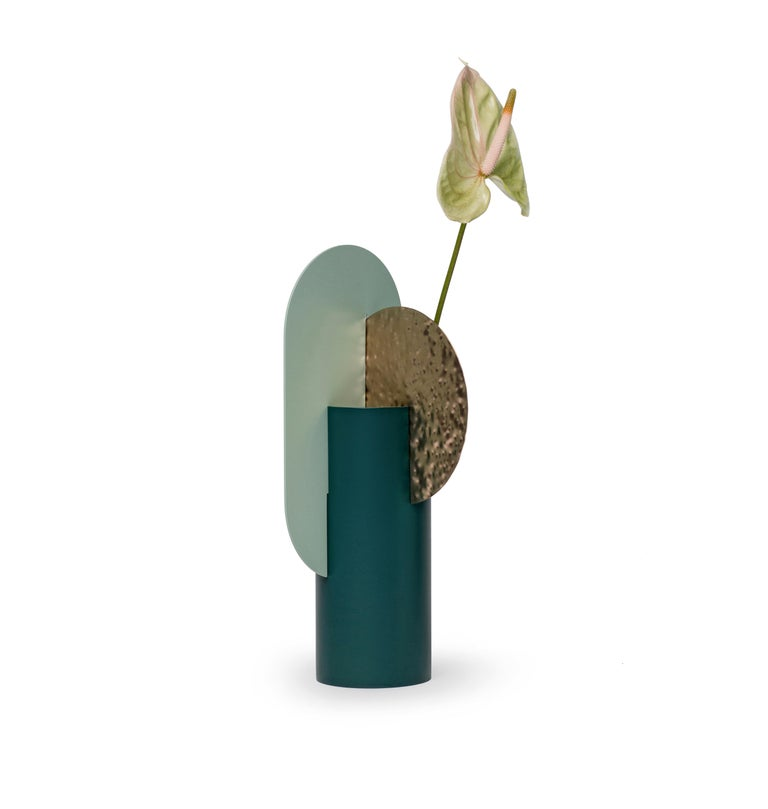 Yermilovvase limited edition by NOOM Limited edition Dimensions: H 37 cm x W 17.5 cm x D 15 cm Materials: Hammered brass, painted steel  NOOM is a young rapidly growing design company from Ukraine that produces lighting, decor and home