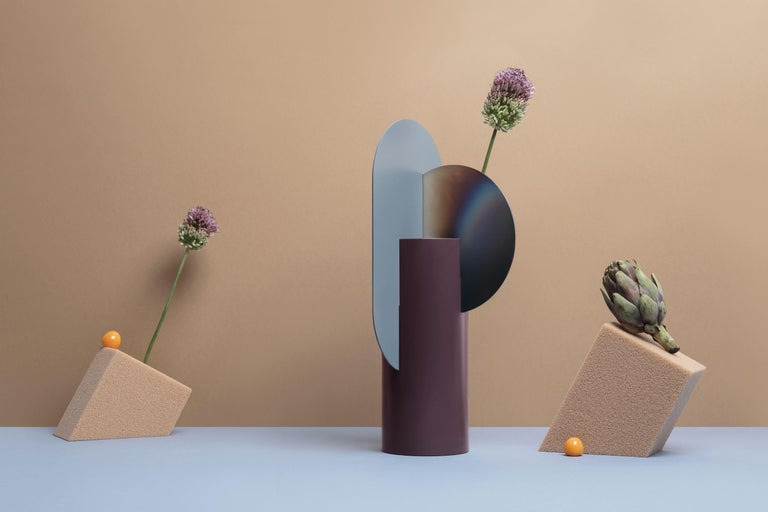 Malevich vase limited edition by NOOM Limited edition Dimensions: H 37 cm x W 17.5 cm x D 15 cm Materials: Burned steel, painted steel  NOOM is a young rapidly growing design company from Ukraine that produces lighting, decor and home