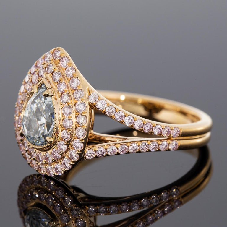 Pear Cut Rose Gold 1.83 Carat GIA Certified Pear Blue & Pink Diamond Halo Engagement Ring