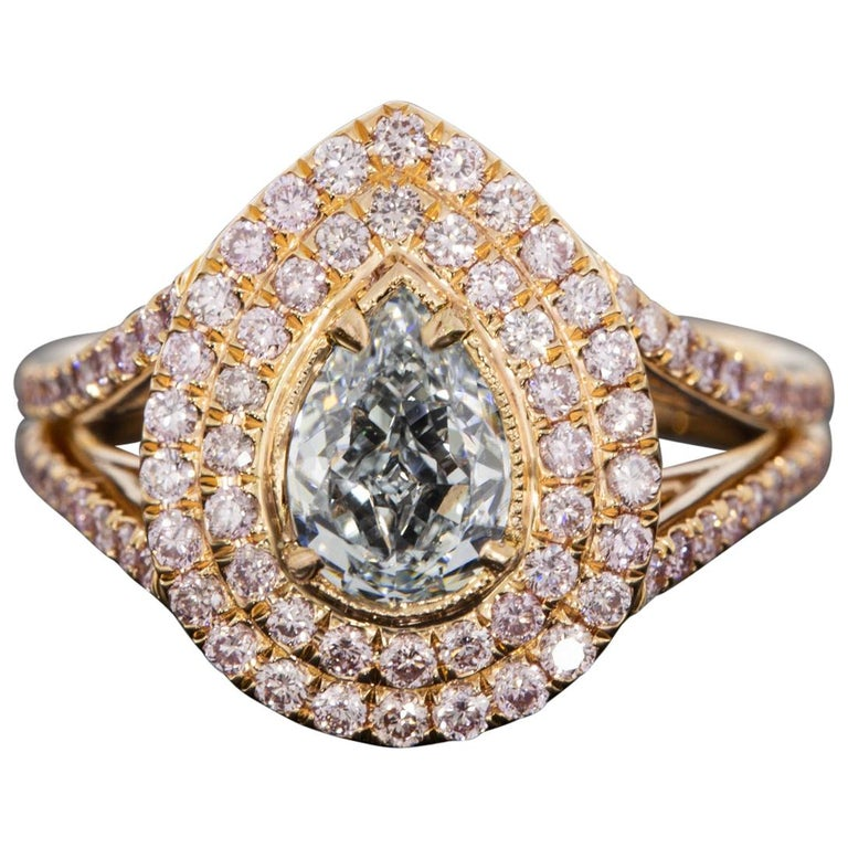 Rose Gold 1.83 Carat GIA Certified Pear Blue & Pink Diamond Halo Engagement Ring