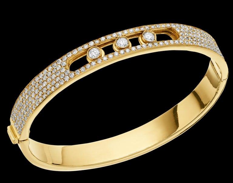 Round Cut Yessayan Happy/Moving Diamond Bangle in 18 Karat Yellow Gold For Sale