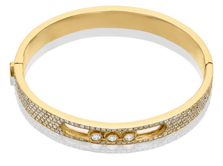 Yessayan Happy/Moving Diamond Bangle in 18 Karat Yellow Gold For Sale 2