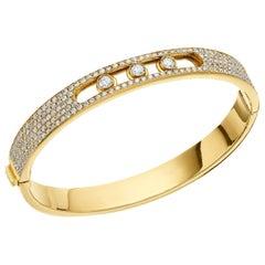 Yessayan Happy/Moving Diamond Bangle in 18 Karat Yellow Gold