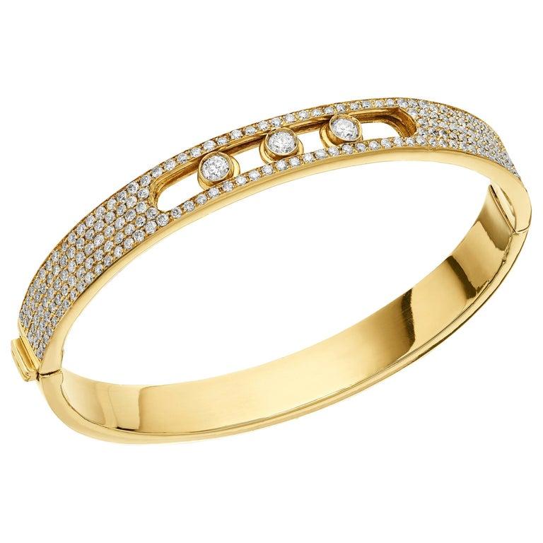 Yessayan Happy/Moving Diamond Bangle in 18 Karat Yellow Gold For Sale