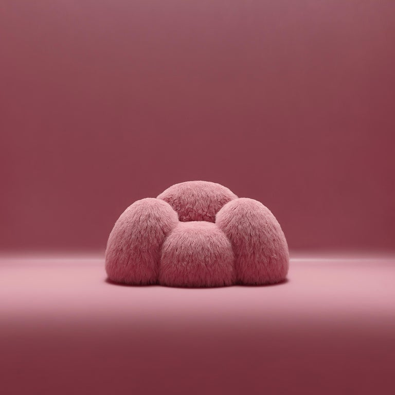 Yeti armchair by Vladimir Naumov Dimensions: H 79 x W 141.5 x L 108 cm Materials: Faux Lama Fur  Yeti furniture series – minimalistic and huge, a soft and cozy pink cloud. Its bloated forms seem to cover you with a feeling of comfort, while the faux