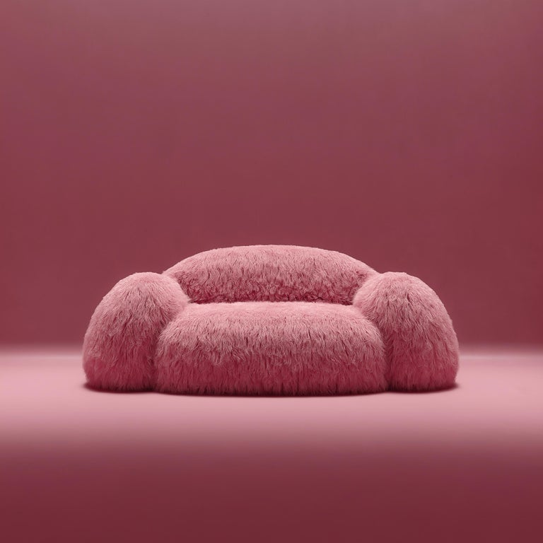 Yeti sofa by NUMO. Dimensions: H 80 x W 210 x L 110 cm Materials: Faux Lama Fur  Yeti furniture series – minimalistic and huge, a soft and cozy pink cloud. Its bloated forms seem to cover you with a feeling of comfort, while the faux lama fur