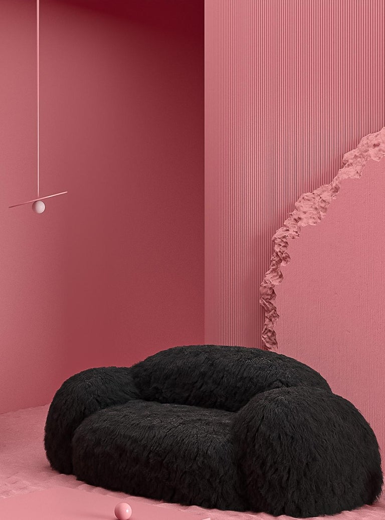 Yeti sofa by Vladimir Naumov Dimensions: H 80 x W 210 x L 110 cm Materials: Faux Lama Fur  Yeti furniture series – minimalistic and huge, a soft and cozy pink cloud. Its bloated forms seem to cover you with a feeling of comfort, while the faux lama