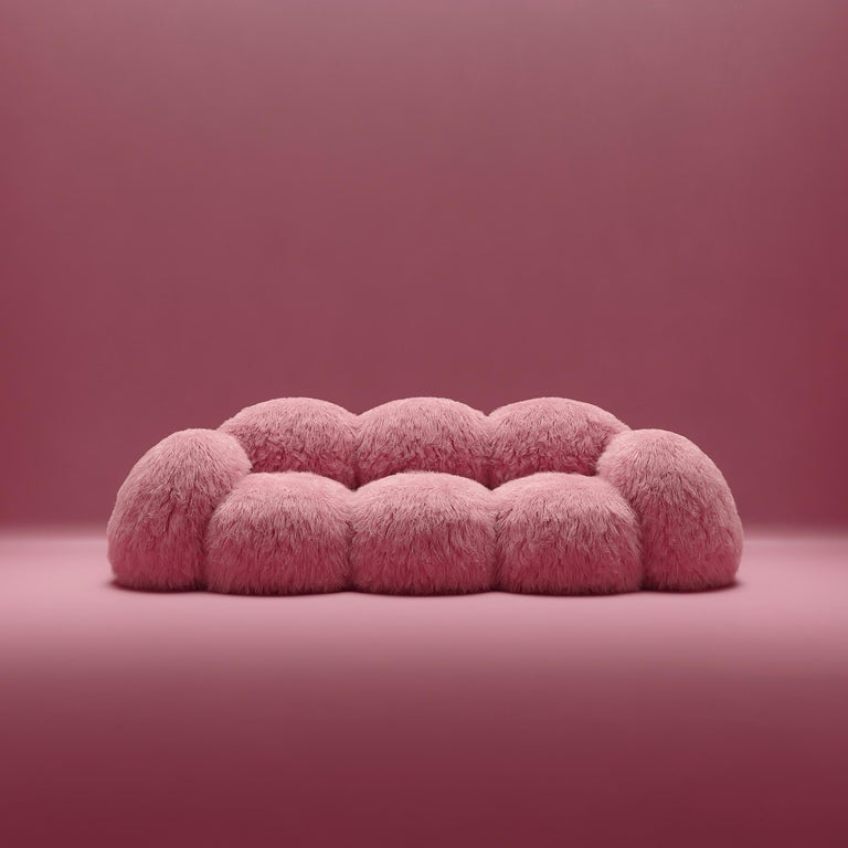 Yeti Triple sofa by Vladimir Naumov Dimensions: H 79 x W 260 x L 108 cm Materials: Faux Lama Fur  Yeti furniture series – minimalistic and huge, a soft and cozy pink cloud. Its bloated forms seem to cover you with a feeling of comfort, while the