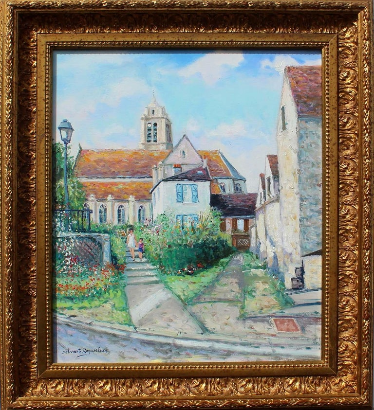 France, ëglise d' ëpiais - Rhus en Vexin. Painting size is 15x18.5 inches. Framed size is 24x21 inches.  Signed lower left. Gallery certificate is included.