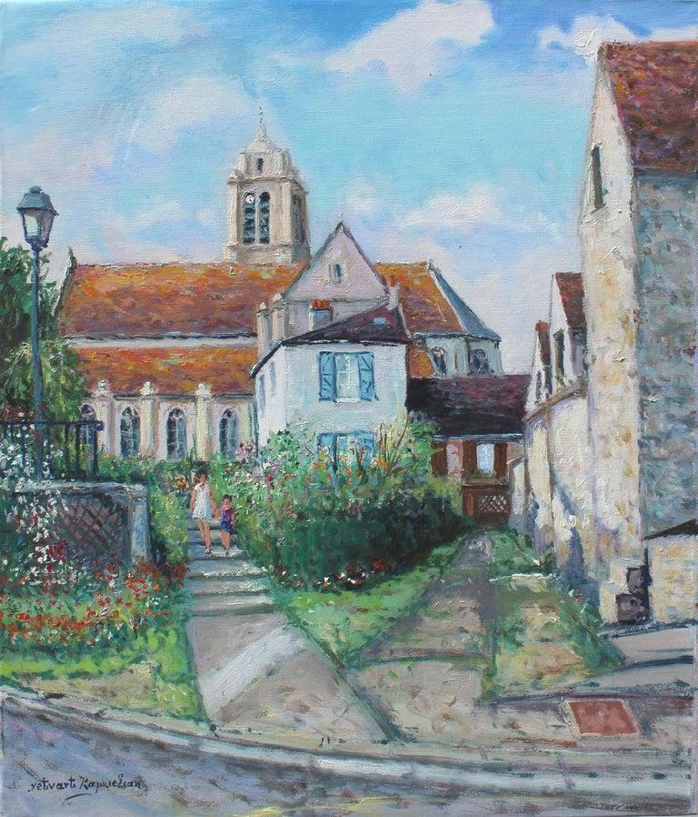 Yetvart Kaprielian Landscape Painting - France, ëglise d' ëpiais - Rhus en Vexin.