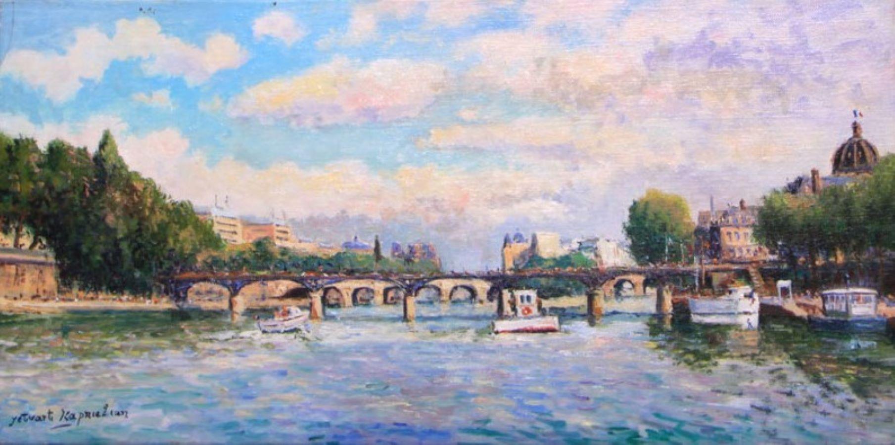 Le Pont des Arts, Paris-Original Oil on Canvas, Signed by Artist
