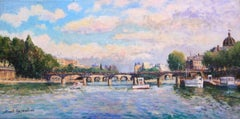 Le Pont des Arts, Paris-Original Oil on Canvas, Signed by Artist