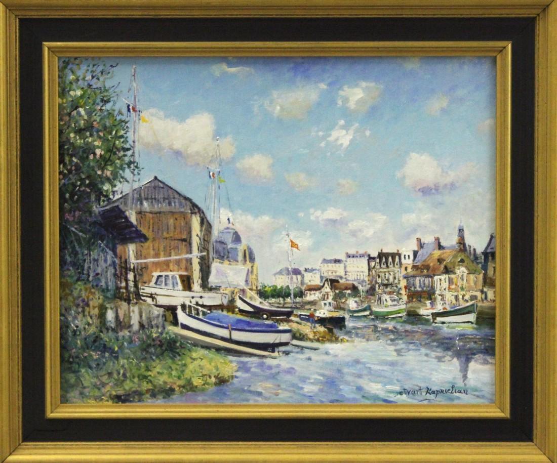 Port et le Chantier Naval Trouville sur Mer-Signed Oil on Canvas, comes with COA