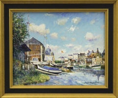Port et le Chantier Naval Trouville sur Mer-Signed Oil on Canvas, comes with COA